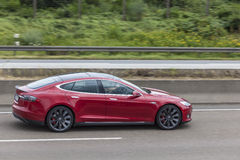 Tesla Model S on the highway Royalty Free Stock Photos