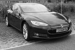 Tesla Motors Model S - Front view - black white Stock Photos