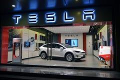 Tesla na exposição na loja de Shanghai Imagens de Stock Royalty Free