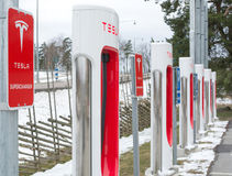 Tesla power charger. ARBOGA, SWEDEN - MARCH 22, 2015: Tesla power charger. Tesla Motors Inc, electric charging station between Stockholm and Oslo on March 22 Stock Photo