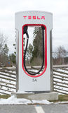Tesla power charger. ARBOGA, SWEDEN - MARCH 22, 2015: Tesla power charger. Tesla Motors Inc, electric charging station between Stockholm and Oslo on March 22 royalty free stock image