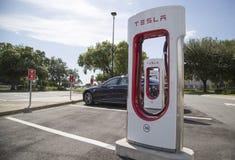 Free Tesla Recharging Station On Florida Turnpike Stock Photo - 56001150