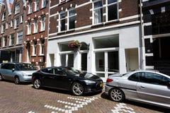 Tesla samochód na ulicie Amsterdam Fotografia Royalty Free
