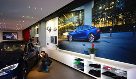 Photo session in Tesla showroom Stock Photos