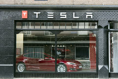 Tesla store in Amsterdam royalty free stock images
