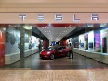 Tesla Store at a Shopping Mall in Virginia royalty free stock photography
