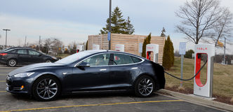 Tesla Supercharger station, Ann Arbor, MI Stock Photography