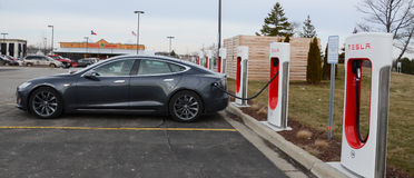 Tesla Supercharger station, Ann Arbor, MI Royalty Free Stock Images