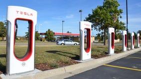 Tesla Supercharger station, Ann Arbor, MI Stock Image