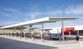 Tesla supercharger station in Central California, Kettleman City. Kettleman City, CA - February 02, 2017: Tesla Supercharger station with 40 charging stations Stock Photo