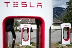 Tesla supercharger station in Eidfjord, Norway Royalty Free Stock Images