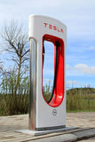Tesla Supercharger Station in Paimio, Finland Royalty Free Stock Photo