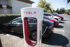 Tesla Superchargers 3 royalty free stock photo