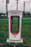 Tesla superchargers przy M8 Ballacolla stacją obsługi, zdjęcia stock