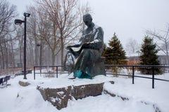 Teslastandbeeld bij Niagara-Dalingen in een sneeuwende dag royalty-vrije stock afbeelding