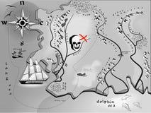 Tesori della mappa di fantasia Fotografie Stock Libere da Diritti