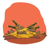 Tesoro de las monedas de oro y del cañón del pirata Imagen de archivo