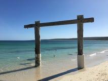 Tesoro de madera de la playa fotografía de archivo