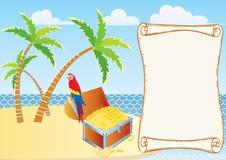 Tesoro del pirata con il pappagallo e le palme. Fotografia Stock