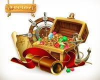 Tesoro del pirata Ejemplo del vector de la aventura ilustración del vector