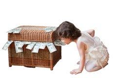 Tesoro, ragazza, bambino, regalo, compleanno, banca, pirati, finanza, crisi, ritrovamento Immagini Stock Libere da Diritti