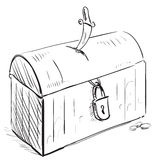 Tesoro viejo del pirata con la cerradura y la daga Imagenes de archivo