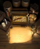 Tesoro y correspondencia del pirata imágenes de archivo libres de regalías