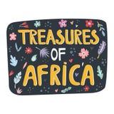 Tesoros del lema exhausto de la mano de África con las decoraciones ilustración del vector