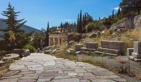 Tesouraria ateniense - Delphi - Grécia Fotos de Stock