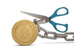 Tesouras com corrente do ferro e bitcoin do ouro ilustração 3D ilustração royalty free