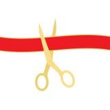 Tesouras douradas que cortam a fita vermelha isolada no fundo branco Ilustração do vetor Imagem de Stock