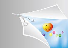Tesouras e balão Fotografia de Stock