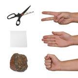 Tesouras, papel, pedra Imagem de Stock