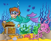 Tesouro de exploração do mergulhador no mar Fotografia de Stock Royalty Free