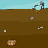 Tesouro Hunter Digging Foto de Stock Royalty Free
