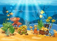 Tesouro subaquático, caixa na parte inferior do oceano, ouro, joia no fundo do mar Paisagem subaquática, corais ilustração stock