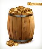 Tesouro Tambor de madeira com moedas de ouro vetor 3d Imagens de Stock Royalty Free