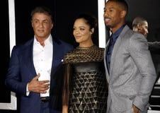 Tessa Thompson, Sylvester Stallone and Michael B. Jordan Royalty Free Stock Photos