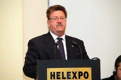 ó Reunião da presença Grego-Alemão Hans Joachim Fuchtel Foto de Stock