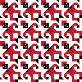 Tesselating Figure Pattern. Funny retro pattern with red and black man Stock Photos