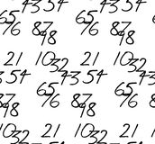 Tessellated handwritten numbers. Nine handwritten two-digit numbers differing by eleven Stock Images