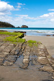 Tessellated Pavement. Natural formations in the rock by the sea, known as the Tessellated Pavement, Eaglehawk Neck in Tasmania royalty free stock image