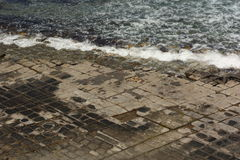 Tessellated Pavement at Eaglehawk Neck, Tasmania. Due to erosion, spectacular geometric shapes are formed in the rocks at the shore Stock Photos