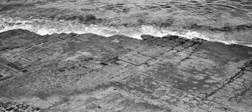 Tessellated Pavement in Pirates Bay. Black and White. View of Tessellated Pavement in Pirates Bay, Tasmania. Black and White Stock Images