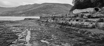 Tessellated Pavement in Pirates Bay. Black and White. Royalty Free Stock Images