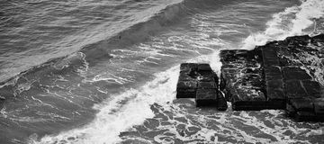 Tessellated Pavement in Pirates Bay. Black and White. Stock Image