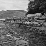 Tessellated Pavement in Pirates Bay. View of Tessellated Pavement in Pirates Bay, Tasmania. Black and White Stock Photos