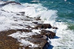 Tessellated rock platform weathered by ocean waves. On the New South Wales coast, Australia Royalty Free Stock Photography