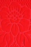 Tessile rossa delle lane del reticolo di fiore Fotografia Stock Libera da Diritti