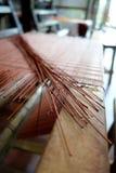 Tessitura della stuoia del rattan Fotografia Stock
